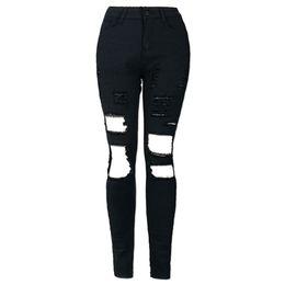 $enCountryForm.capitalKeyWord NZ - Women Girls Stylish High Waist Elastic Holes Hollow Out Jeans Leggings Skinny Pencil Pants