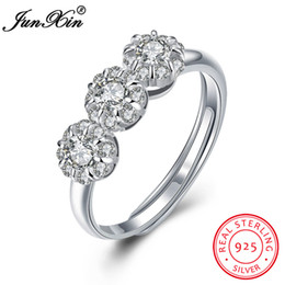 $enCountryForm.capitalKeyWord Australia - dhgate Romantic Flower Shape Women Lady 100% 925 Sterling Silver Ring Wedding Engagement Party Zircon Open Ring Valentine's Day