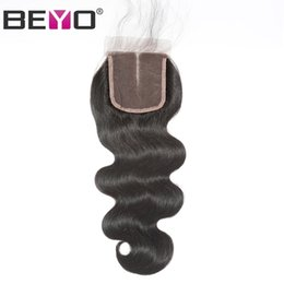 Chinese  5x5 Lace Closure Brazilian Body Wave Closure Human Hair Closure With Baby Hair Free Middle Three Part Remy Hair Beyo manufacturers