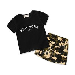 Cool Baby Clothes UK - Baby Girl Camouflage Outfit Girl Short Sleeve Black tops + Skirt 2PCS Set Summer Cool Clothing for 1-6T