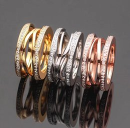 Screw Rings NZ - New Arrival Fashion Lady 316 Titanium Steel Lettering Hollow Out Screw Diamond Wedding Engagement 18K Gold Plated Wide 1.2cm Rings Size6-9