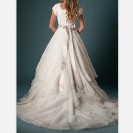 $enCountryForm.capitalKeyWord Australia - Luxury Chiffon Ruffles Sweep Train Lace Wedding Dresses 2019 Elegant Tiers Bridal Gowns Custom Beads Belt Cap Sleeves Country Wedding Gowns