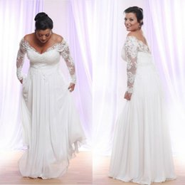 396218a7b5e51 Chic Plus Size Beach Wedding Dresses Off The Shoulder Lace Appliqued Long  Sleeves Wedding Dress Bridal Gowns A Line