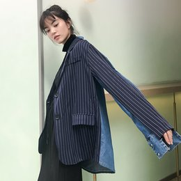 ladies simple jacket NZ - Stripe Cowboy Ladies Blazer Vintage Loose Casual Simple Suit Jacket Long Sleeve Monteau Femme Hiver Spring Women Jacket MM60NXZ