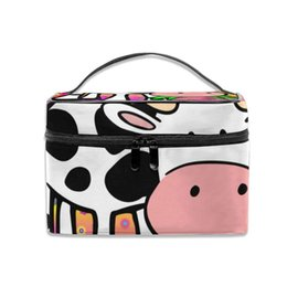$enCountryForm.capitalKeyWord Australia - Cosmetic Bag Colorful Cow and Flowers Multifunction Dual Compartment Portable Waterproof Cosmetic Bag