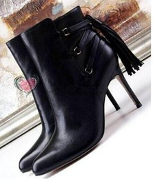 $enCountryForm.capitalKeyWord NZ - High quality black leather 10CM heels women ankle boots spring autumn round toe thin heels fringed boots women booties