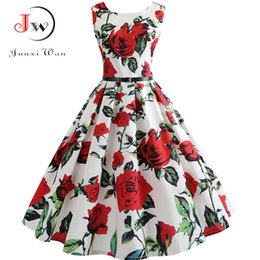 Empire Pin Australia - New Women Vintage Dress Plus Size Floral Print Pin Up Summer Dresses Retro 50s Rockabilly Party Sundress Feminino Vestidos Y19051102