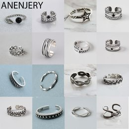 $enCountryForm.capitalKeyWord Australia - ANENJERY Vintage Handmade 925 Sterling Silver Rings For Men Women Size 18mm Adjustable Thai Silver Rings Personality S-R445
