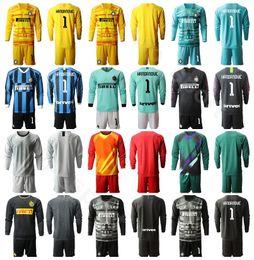 Soccer goalie jerSey online shopping - Inter Goalkeeper GK Milan Soccer Goalie HANDANOVIC Long Sleeve Jersey CANDREVA BERNI PADELLI Football Shirt Kits