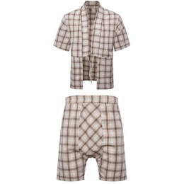 China Men 'S Set Summer Japan Style Drawstring Short Sleeve Plaid Tracksuit Men Linen Breathable Fashion Size M-3XL supplier linen running shorts suppliers