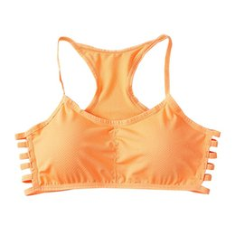push up racer back bra 2019 - Yoga Bra Brassiere Breathable Hollow Out Side Striped Bras Full Cup Racer Back Fitness Cotton Push Up Shaper Sports Bras