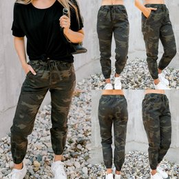 Wholesale women skinny cargo pants resale online - Women Hip hop Drawstring Mid waist Cargo Pants Military Army Combat Camouflage Print Joggers Skinny Trousers
