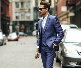 Beige Slim Suits For Men Australia - 2019 New Blue Men Suits Formal Slim Fit Blazer Wedding Suits For Men Custom Tuxedo Business 3 Piece Traje Hombre