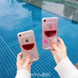 Housing For Iphone 5s NZ - Red Wine Glass Liquid Quicksand Transparent Phone Case Hard Back Cover For Iphone 5 5s Se 6 6s 7 8 Plus X Housing