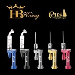 Wholesale HBking Patent Portable enail kits variable temperature control Electric evnail dab kit with glass attachments for glass water pipe bong DHL