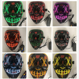 Wholesale fancy dress customs for sale – halloween Halloween Mask With LED Lights Fluorescent Light Fancy Mask Colors Cosplay Custom Party Dress Masks Glow In Dark