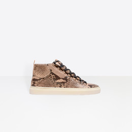 Python Box Australia - [With Box] Calfskin Python Effect Arena High Top Sneaker Shoes Men's Kanye West Trainers,Luxury Casual Zapatos Hombre Leisure 2019