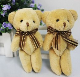 Cloth Bouquet Australia - Cute Soft Plush Stuffed Mini Brown Ribbon Teddy Bear Toys Doll for Bouquet New