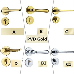 Wholesale chrome books online – design Modern Fashion Indoor split mute wooden door lock PVD gold chrome bedroom book room door lock shiny silver lock hings door stop