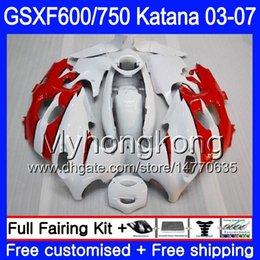 Red Katana Australia - GSXF-600 For SUZUKI KATANA white red glossy GSXF 750 600 GSXF600 03 04 05 06 07 293HM.56 GSX 750F GSXF750 2003 2004 2005 2006 2007 Fairing
