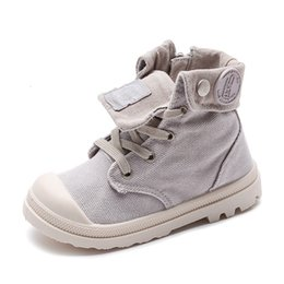 wide canvas shoes Australia - 2019 Spring Autumn New Kids Sneakers High Children's Canvas Shoes Boys And Girls Child Baby Martin Boots Casual Military Boots CJ191213