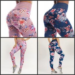 218d8171166c8 Women Yoga Pants Hygroscopic Springy Flower Pattern Tight Leggings High  Waist Pink Blue Soft Fashion Fitness Pantses 36zcD1