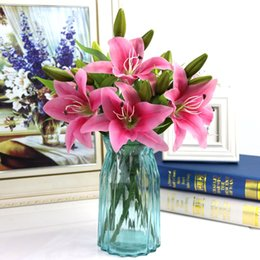 Fake Lilies Flowers Australia - Easter Decorative Romantic Fake Lily Wedding Single Garden Valentine's Day Artificial Flower Birthday Office Home Party
