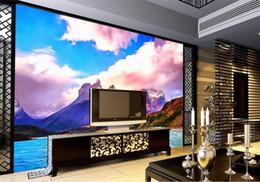 Discount backdrop fantasy - custom size 3d photo wallpaper living room bed room mural fantasy mountain lake scenery picture sofa TV backdrop wallpap