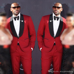 $enCountryForm.capitalKeyWord Australia - Red Men Suits With Black Bowtie 2019 Wedding Groom Tuxedos (Jacket+Bow+Pants) Men Suits Custom Made Formal Suit For Wedding Bestmen