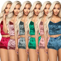 $enCountryForm.capitalKeyWord Australia - Women Two Piece Outfits Velvet Sexy V Neck Spaghetti Straps Crop Top + Shorts Tracksuit Night Club Party sets Summer Sleepwear clothing