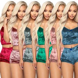 $enCountryForm.capitalKeyWord Australia - Women Two Piece Outfits Velvet Sexy V Neck Spaghetti Straps Crop Top + Shorts Tracksuit Night Club Party sets Summer Sleepwear clothing