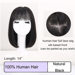 """Hair Black Bob Silky Australia - Customization on Human Hair Wig 14"""" Bob Haircut Black Short Straight Wig Silk Based Full Lace Wig Celebrity Hairstyle OEM on Color and Size"""
