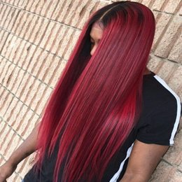 Beauty Wig Australia - Beauty Brazilian hair wig #99J Wine Red Full Lace Human Hair Wigs Straight Peruvian Burgundy Hair Glueless Lace Front Wigs Middle Part 130%