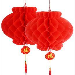 Venta al por mayor de 26 cm 10 pulgadas chino tradicional festivo rojo linternas de papel para la fiesta de cumpleaños decoración de la boda colgante suministros