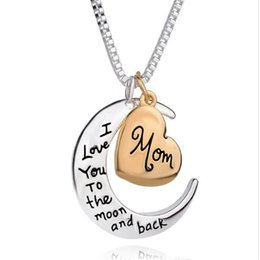 $enCountryForm.capitalKeyWord Australia - Hot fashion love Heart necklace pendant for Mother Day Gift I love you to the Moon and Back Mom Jewelry Necklace 0723ayq