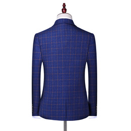 Men suits sliM korean style online shopping - 2019 Spring New Style Suit Korean style Slim Fit Plaid Set of West Youth Men s Suit Set Factory