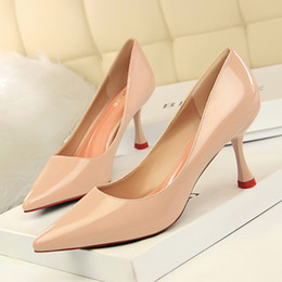 $enCountryForm.capitalKeyWord Australia - Fashion pointed toe 7.5cm stiletto heel OL single shoes PU leather high heels lady office shoes sexy pumps 6 colors