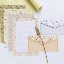 $enCountryForm.capitalKeyWord Australia - 9 Pcs lot Floral Pattern Envelope Postcard Wedding Gift Invitation Card Paper Bag Wages Letter Paper Cover Office Stationery