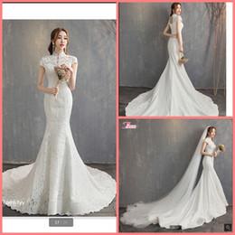 $enCountryForm.capitalKeyWord Australia - Free shipping 2019 mermaid white lace elegant high neck wedding dress hollow back sexy corset court train cap sleeve bride gowns hot sale