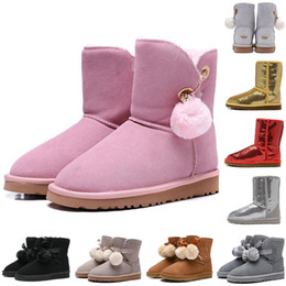 Discount soft heels - Fashion woman shoes WGG winter boots women boots gold grey pink WGG designer womens shoes winter snow boots 36-41