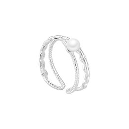Double Rings Chains UK - Korean simple double-decked cross twist and chain ring female personality fashion temperament three-dimensional sense index ring