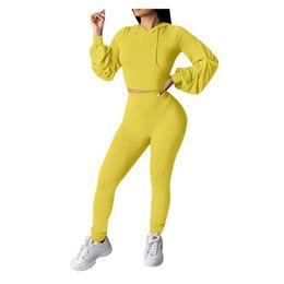 Wholesale 2pcs set sport tracksuit resale online – Women Sport Running Set Casual Solid Long Sleeve Crop Top Hooded Long Pant Suit Female Outdoor Jogging Tracksuit For
