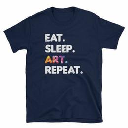Sleeping Art UK - Eat Sleep Art Repeat funny shirt Birthday gift idea, Men, Women, kids T-ShirtCartoon t shirt men Unisex New Fashion tshirt