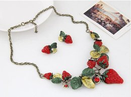 Fruits Earrings Wholesale Australia - Lovely Design Strawberry Necklaces For Women Cute Fruit Earrings Necklace Set Epoxy Leaves Pendant Necklace Free Shipping-P