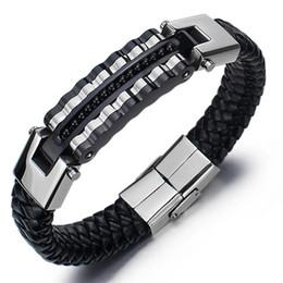 Wholesale thanksgiving songs online – design Men S Bracelets Woven PU Bracelet Fashion Rock Song Special Punk