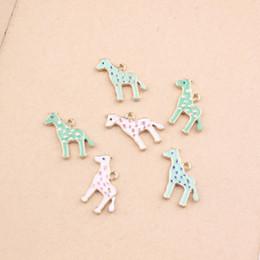 $enCountryForm.capitalKeyWord NZ - Mini Order 10pcs 19*18MM Kawaii Animal Giraffe necklace Pendants Gold Tone Oil Drop Cartoon DIY Ornament Accessory Alloy Charms
