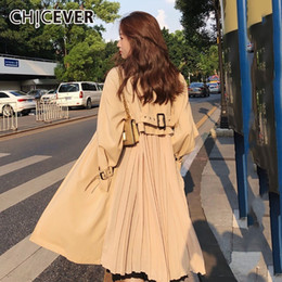 Wholesale CHICEVER Back Pleated Trench Coat For Women Loose Plus Size Windbreaker Outwear Long Sleeve Autumn Coats Female Clothes Fashion