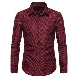 Dotted Shirts Australia - Autumn Fashion Men's Shirt New Fashion Cotton Men Social Shirt Slim Fit Mens Long Sleeve Polka Dot Casual Shirts 5XL