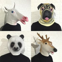 Latex rabbit mask online shopping - Halloween Headgear Adult Lovely Horse Rabbit Cat Head Modeling Headgears Children Girls Latex Animals Masks New Arrival qs L1