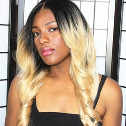 $enCountryForm.capitalKeyWord Australia - Beauty wig Full Lace Wig Ombre #1bT 613 Loose wave Virgin Malaysian Human Hair Lace Front Wig with baby hair natural hairline